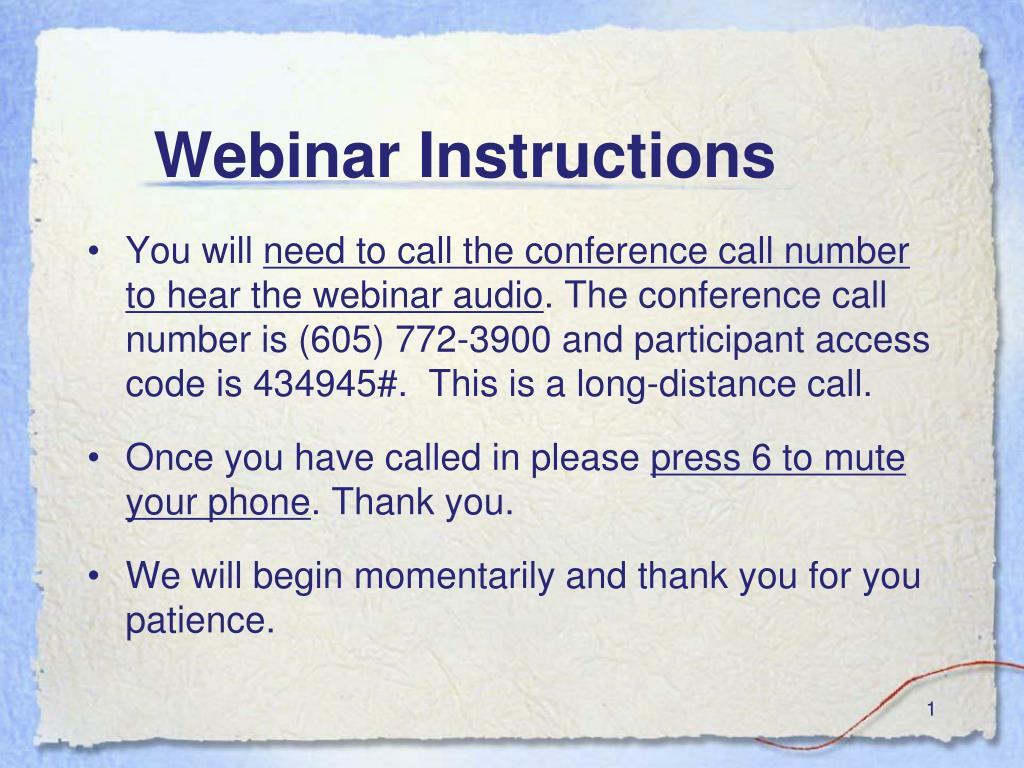 Webinar Instructions