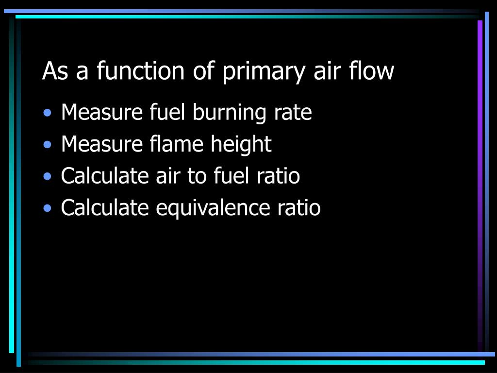 As a function of primary air flow