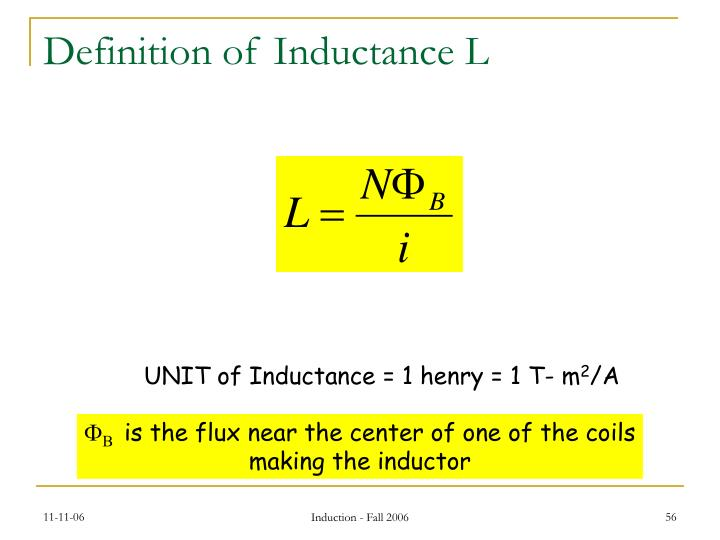 Definition of Inductance L