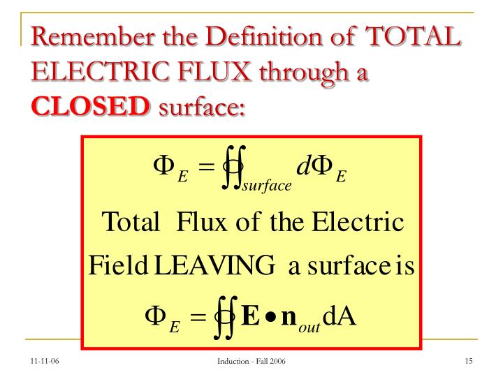 Remember the Definition of TOTAL ELECTRIC FLUX through a