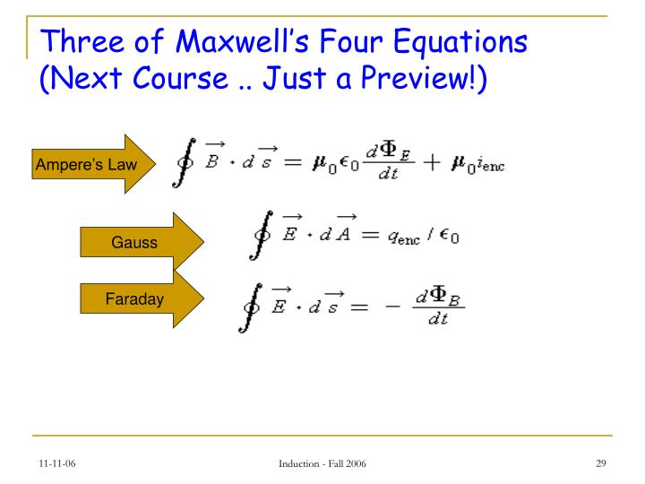 Three of Maxwell's Four Equations