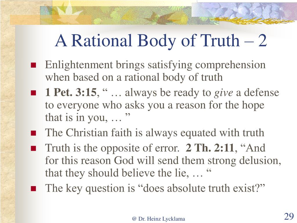 A Rational Body of Truth – 2