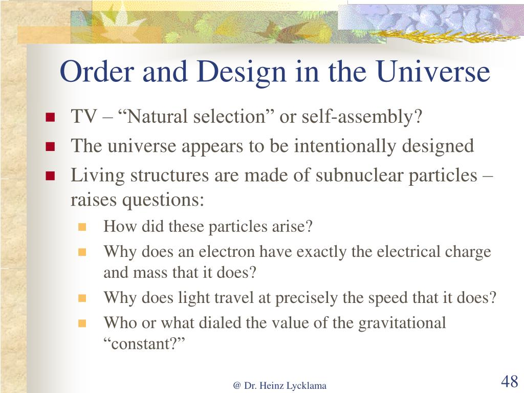 Order and Design in the Universe
