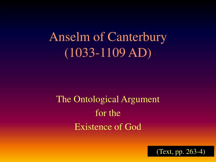 Anselm of canterbury 1033 1109 ad
