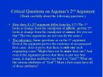 critical questions on aquinas s 2 nd argument think carefully about the following questions