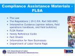 compliance assistance materials flsa