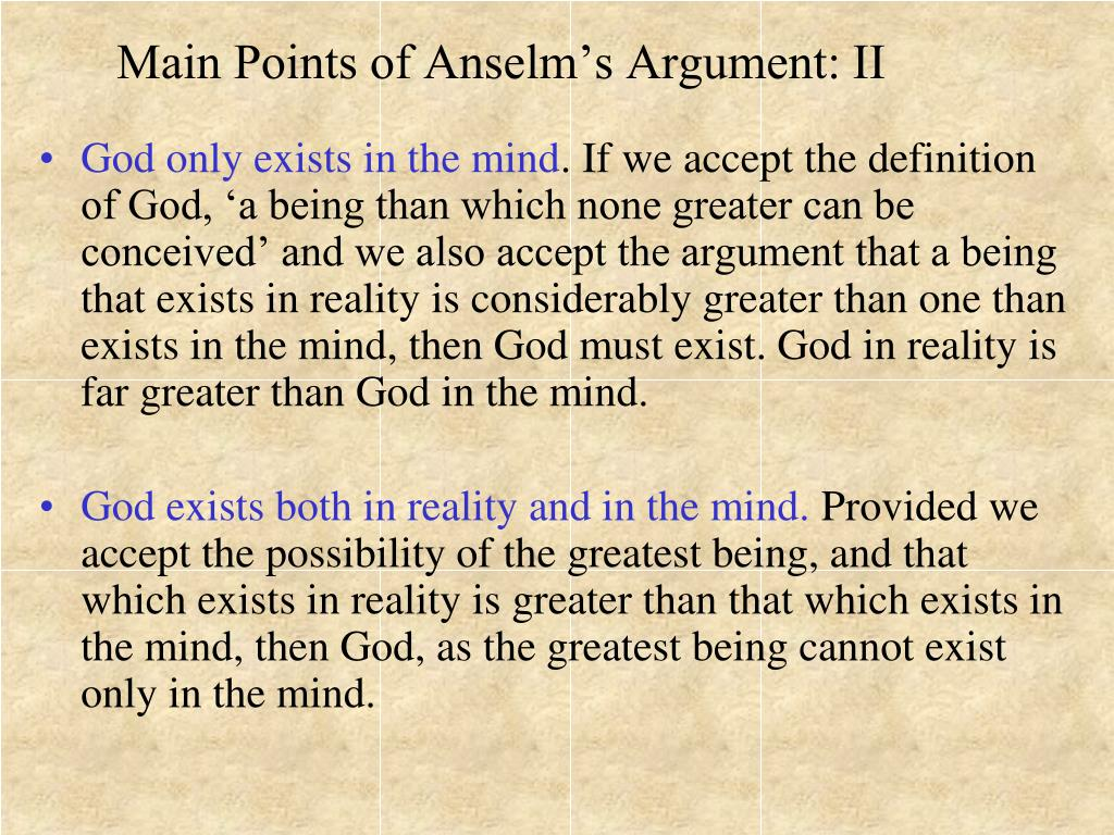 Main Points of Anselm's Argument: II