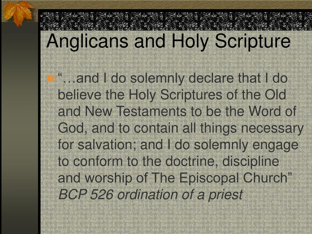 Anglicans and Holy Scripture
