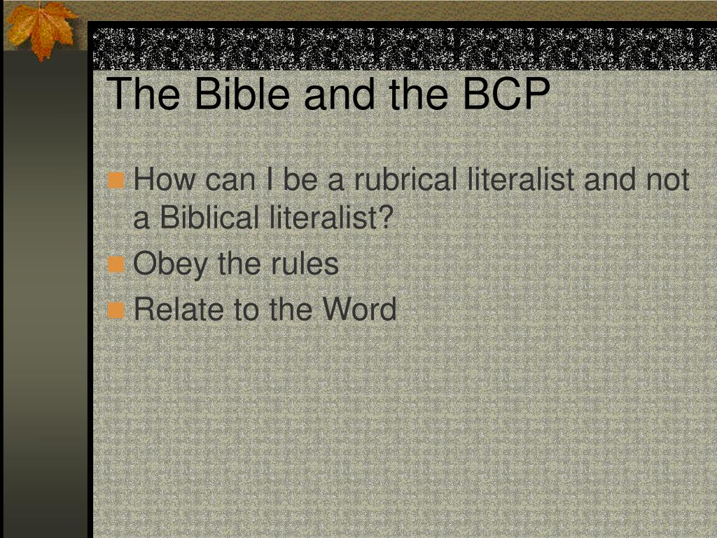 The Bible and the BCP