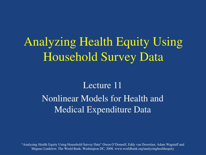 Analyzing health equity using household survey data l.jpg