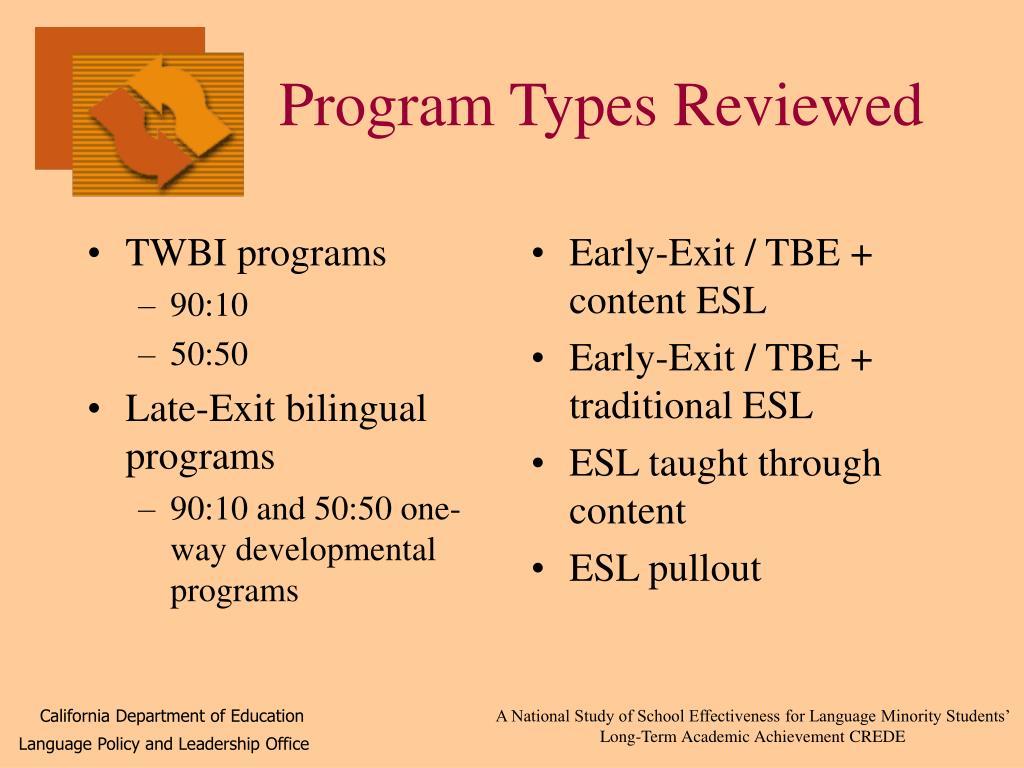 TWBI programs