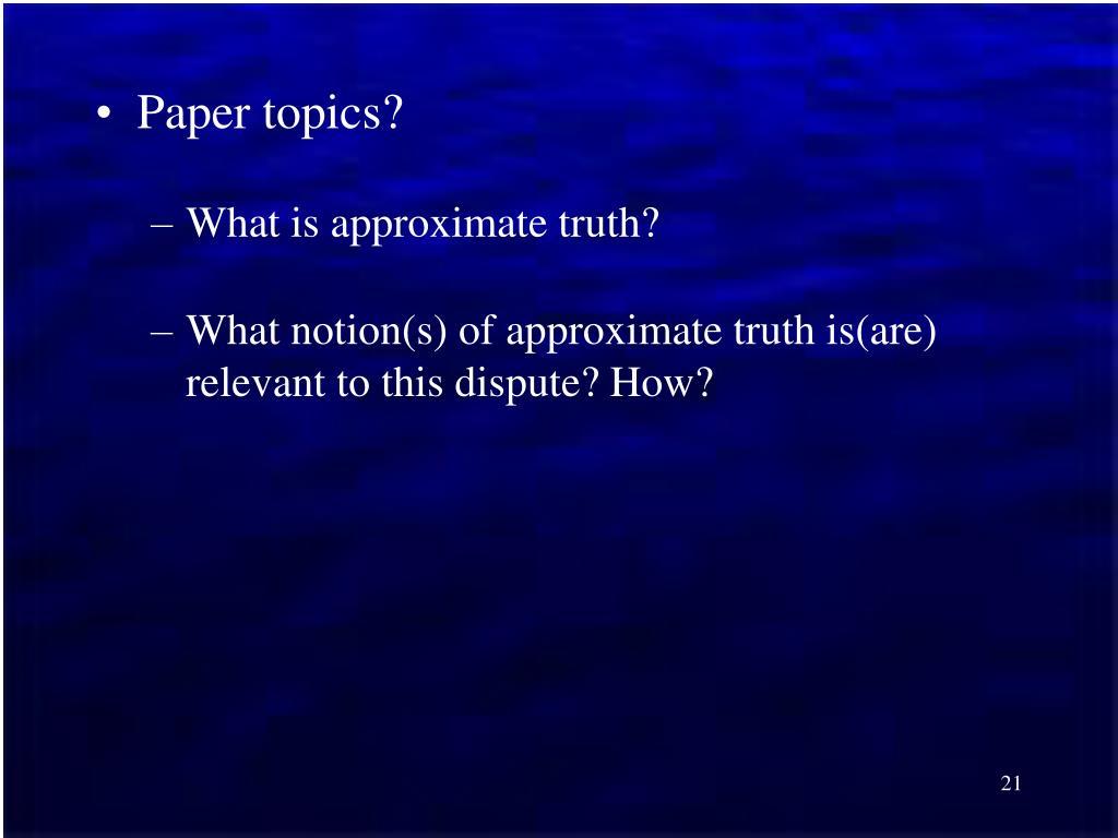 Paper topics?