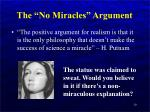 the no miracles argument