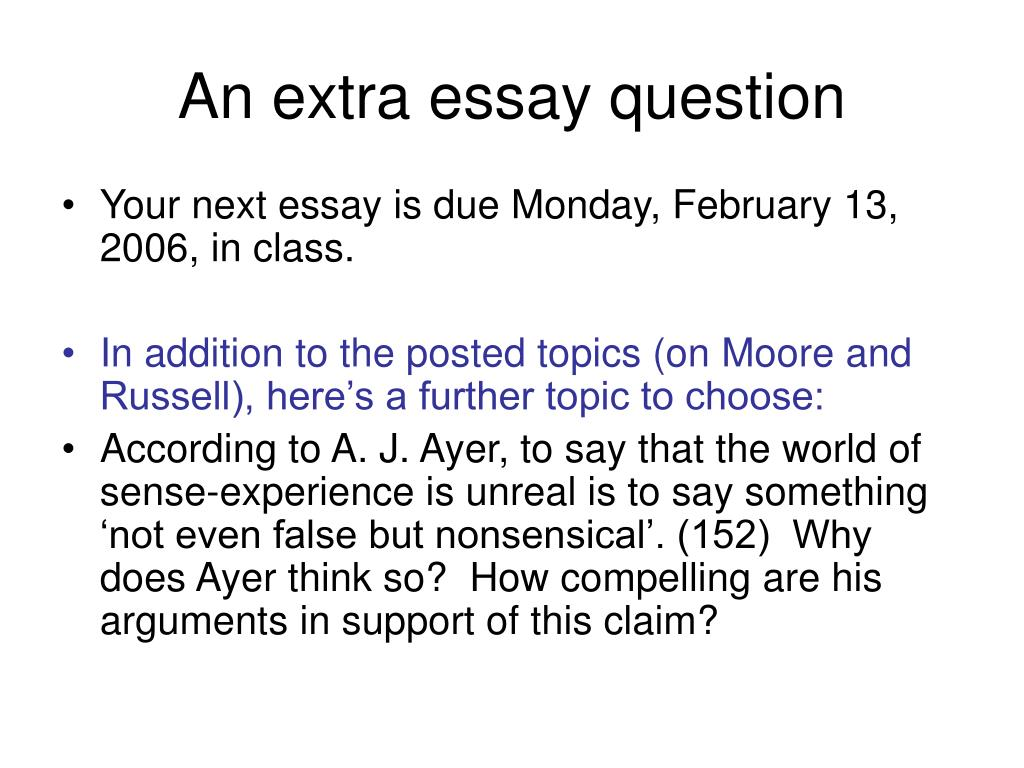 An extra essay question