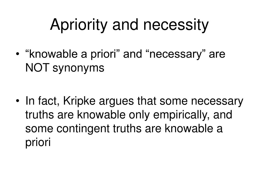 Apriority and necessity