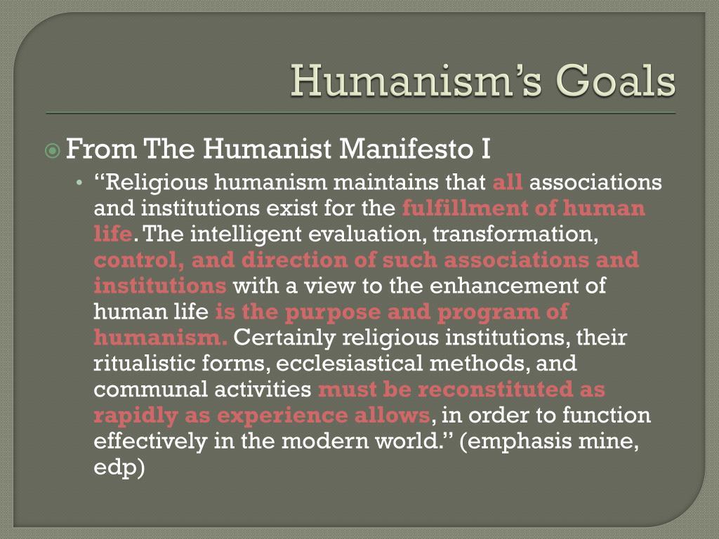 Humanism's Goals