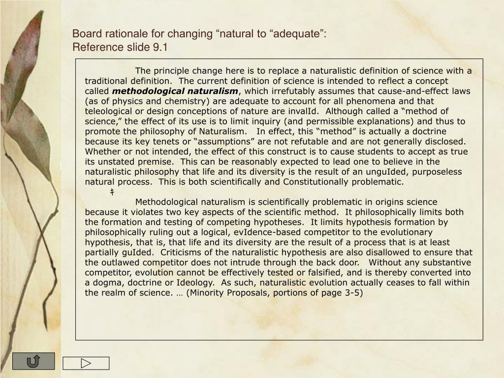 """Board rationale for changing """"natural to """"adequate"""": Reference slide 9.1"""