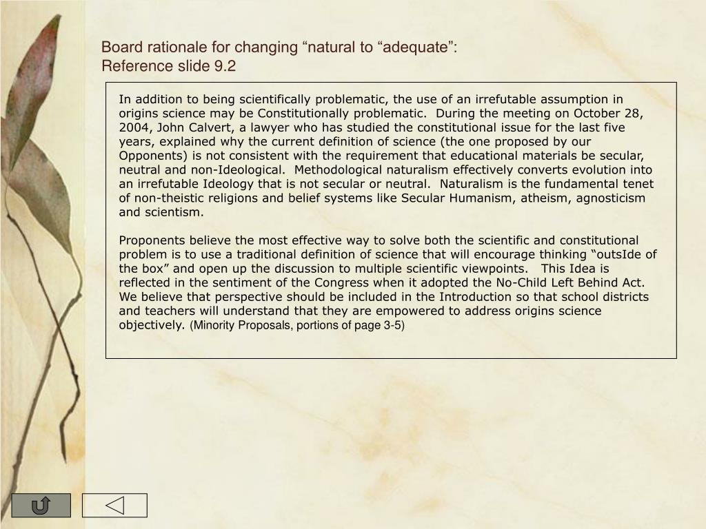 """Board rationale for changing """"natural to """"adequate"""": Reference slide 9.2"""