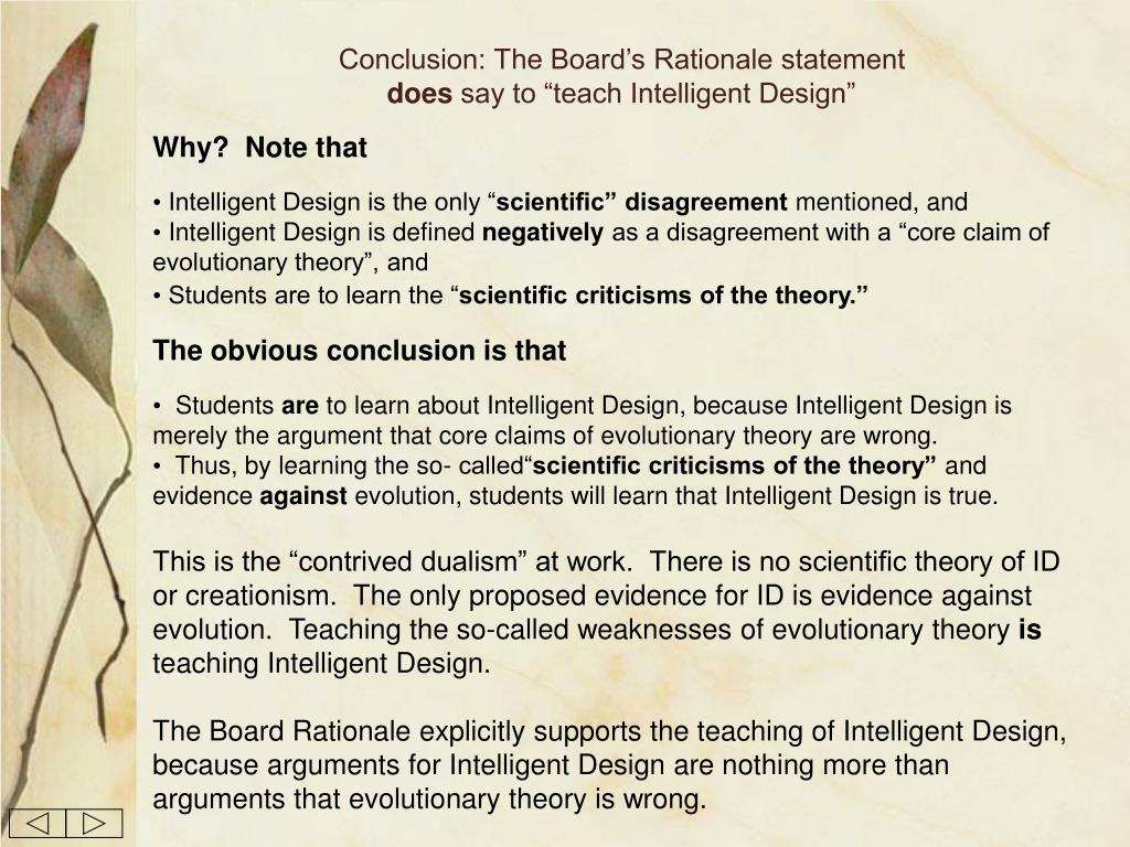 Conclusion: The Board's Rationale statement