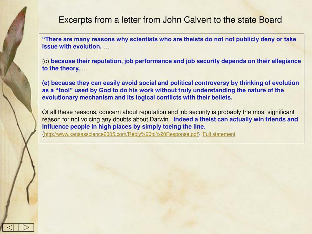 Excerpts from a letter from John Calvert to the state Board