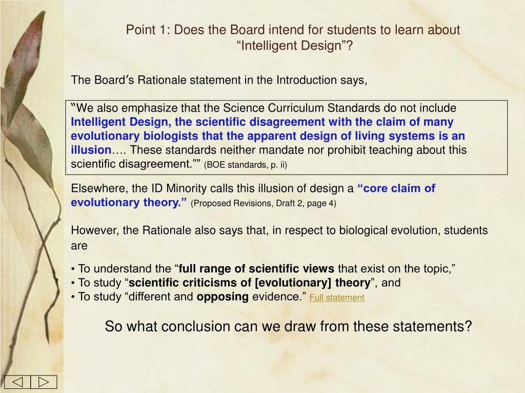 Point 1: Does the Board intend for students to learn about