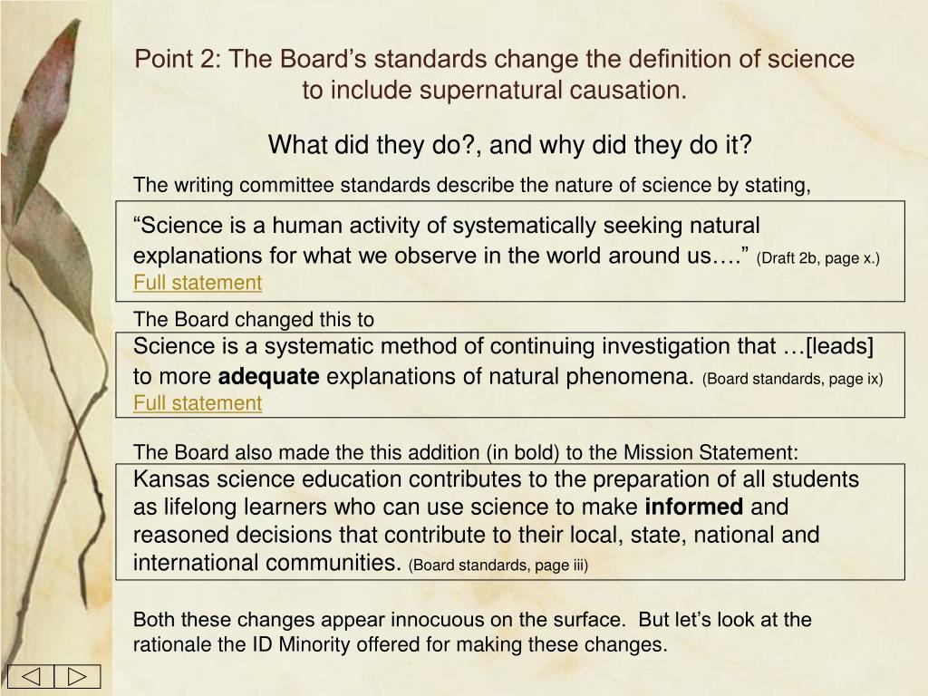 Point 2: The Board's standards change the definition of science