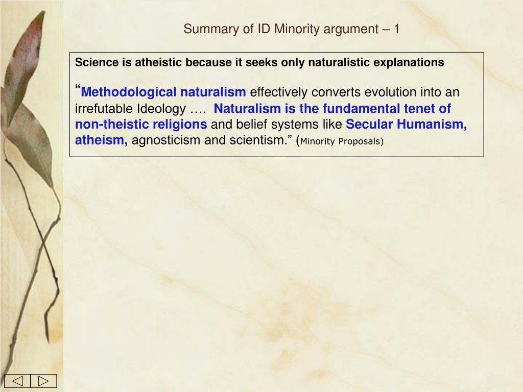 Summary of ID Minority argument – 1