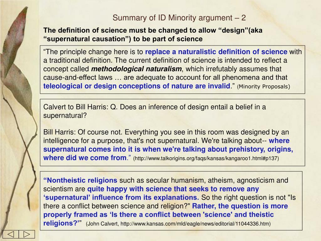Summary of ID Minority argument – 2