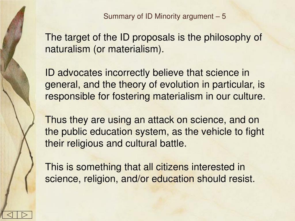 Summary of ID Minority argument – 5