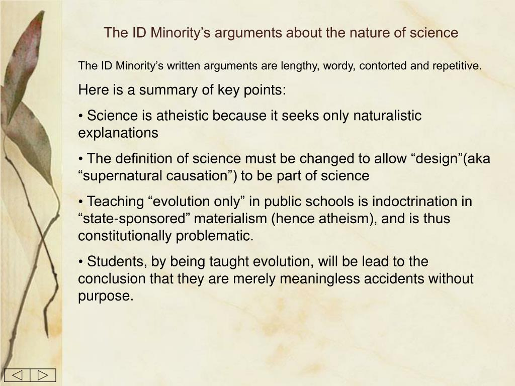 The ID Minority's arguments about the nature of science