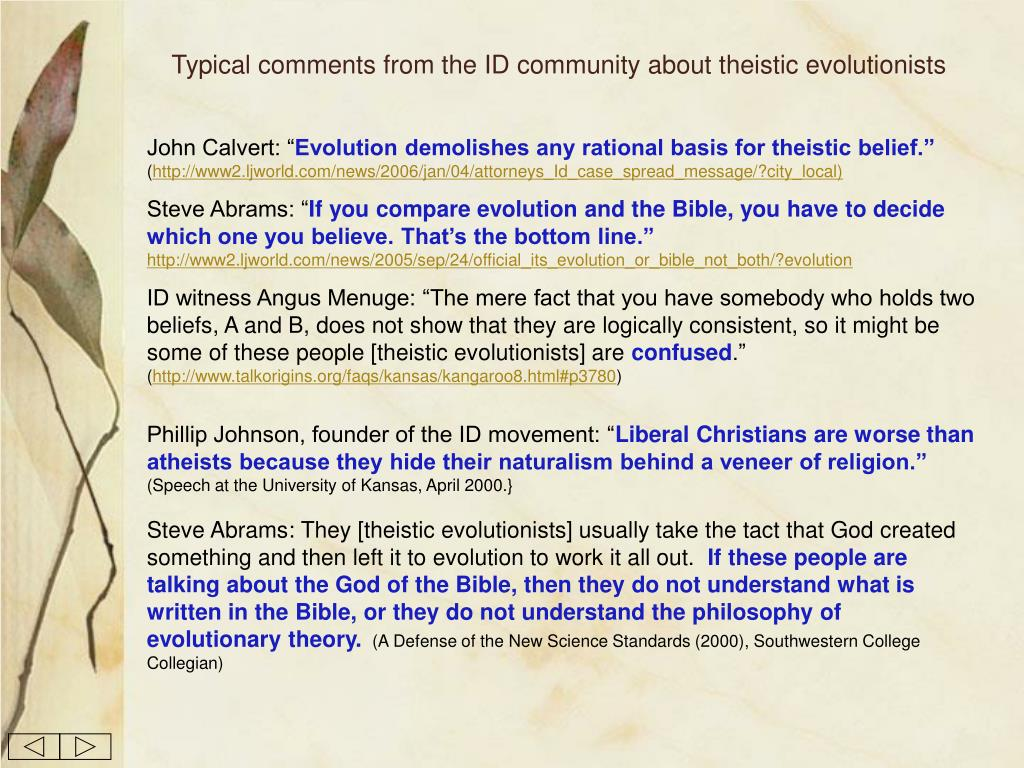 Typical comments from the ID community about theistic evolutionists