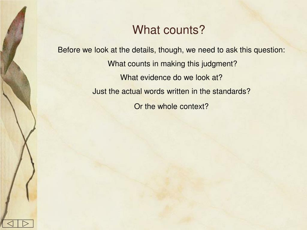 What counts?