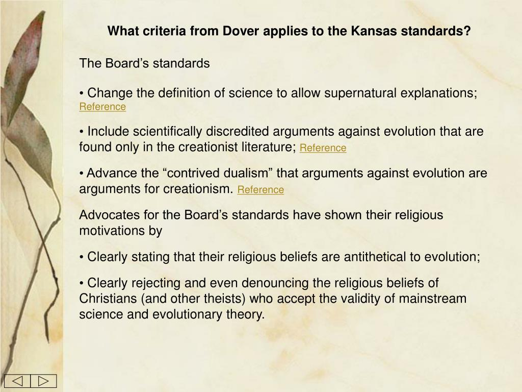 What criteria from Dover applies to the Kansas standards?