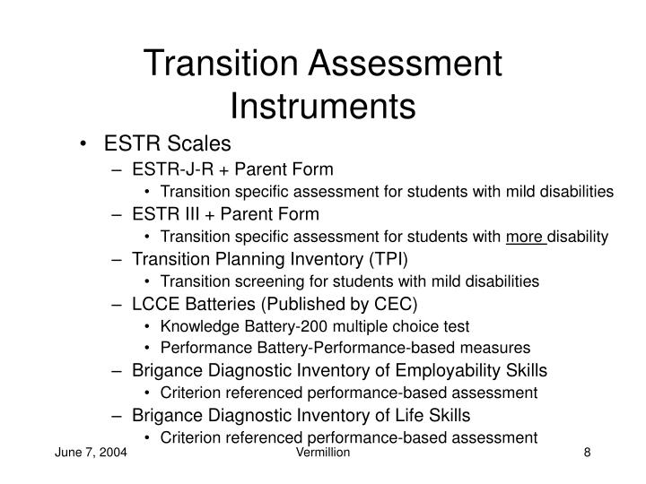 Transition Assessment Instruments
