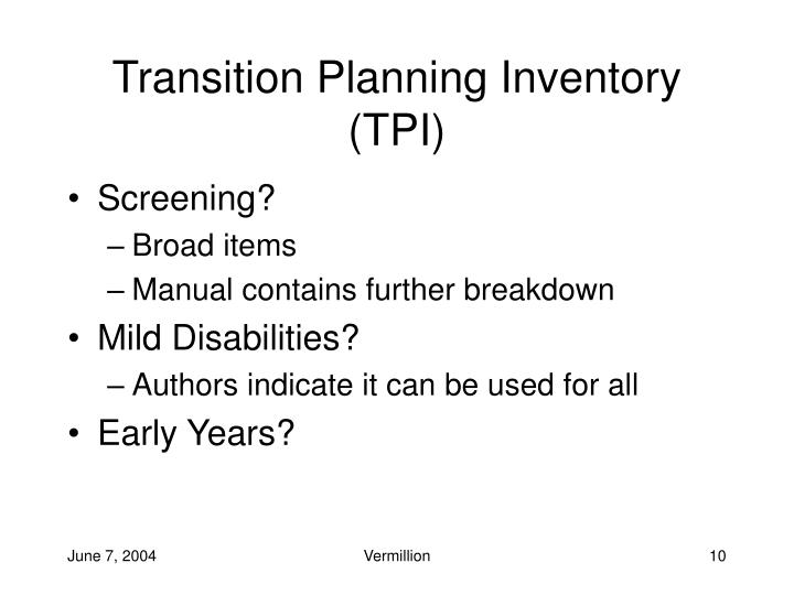 Transition Planning Inventory (TPI)