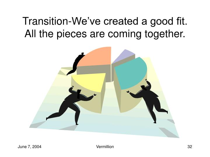Transition-We've created a good fit. All the pieces are coming together.