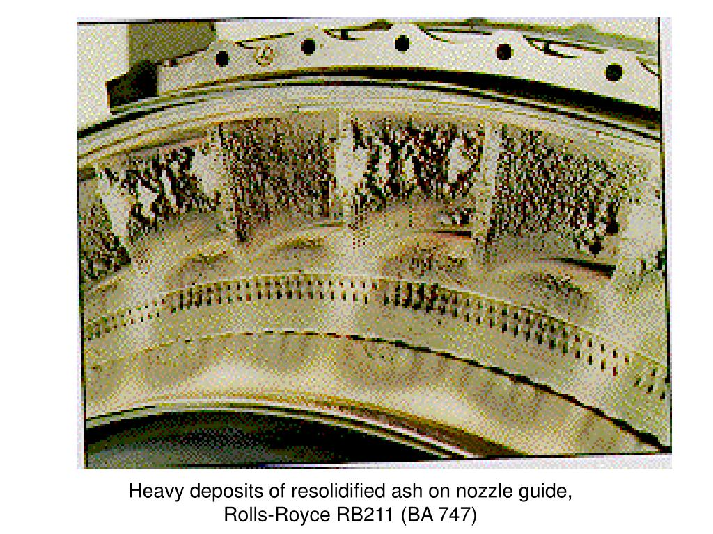 Heavy deposits of resolidified ash on nozzle guide, Rolls-Royce RB211 (BA 747)