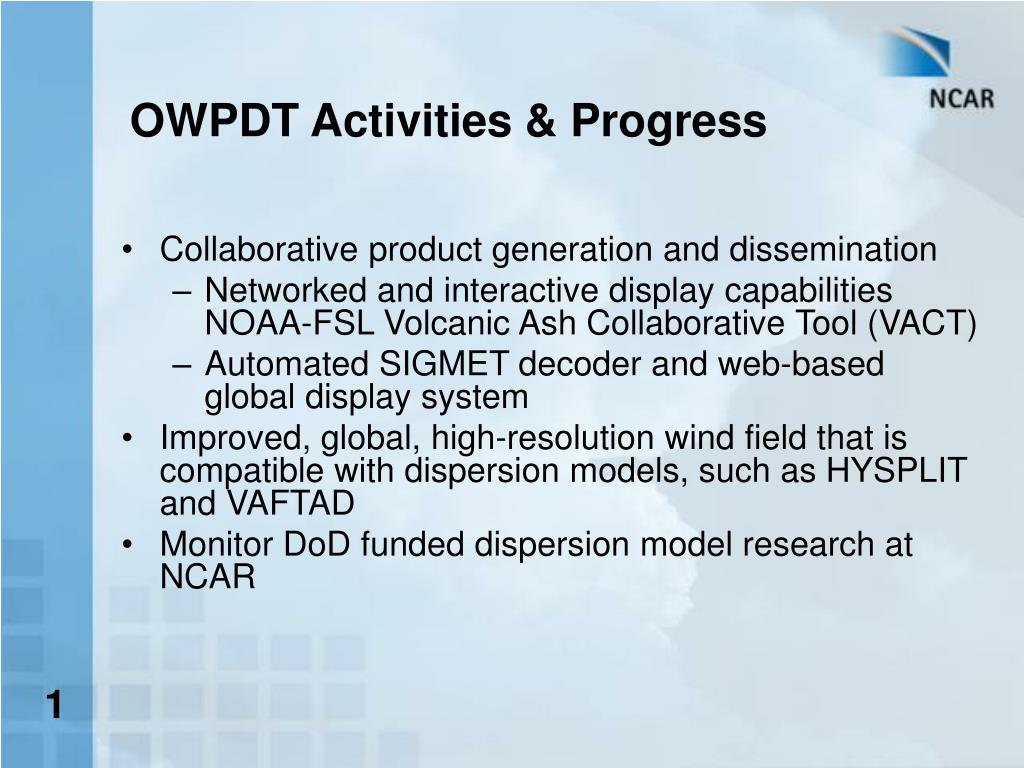 OWPDT Activities & Progress
