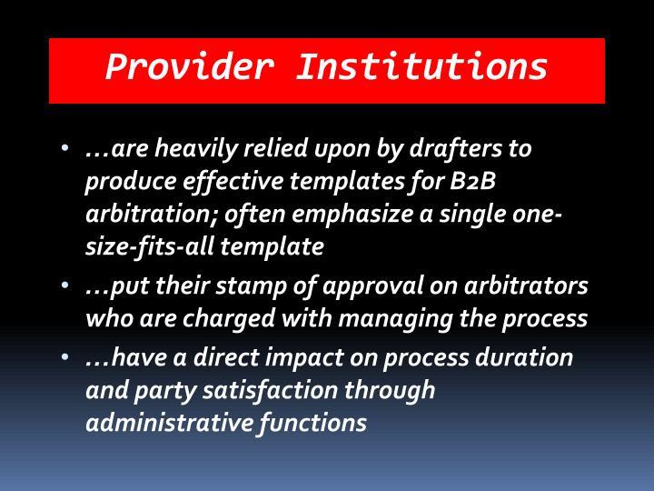 Provider Institutions