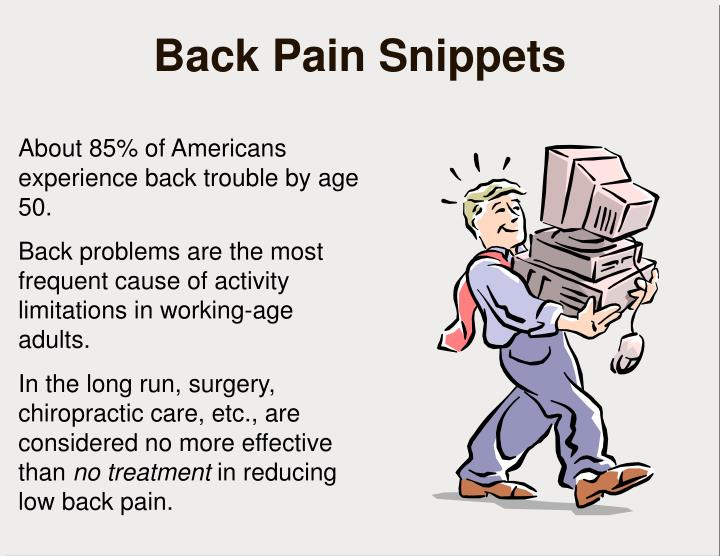 Back pain snippets