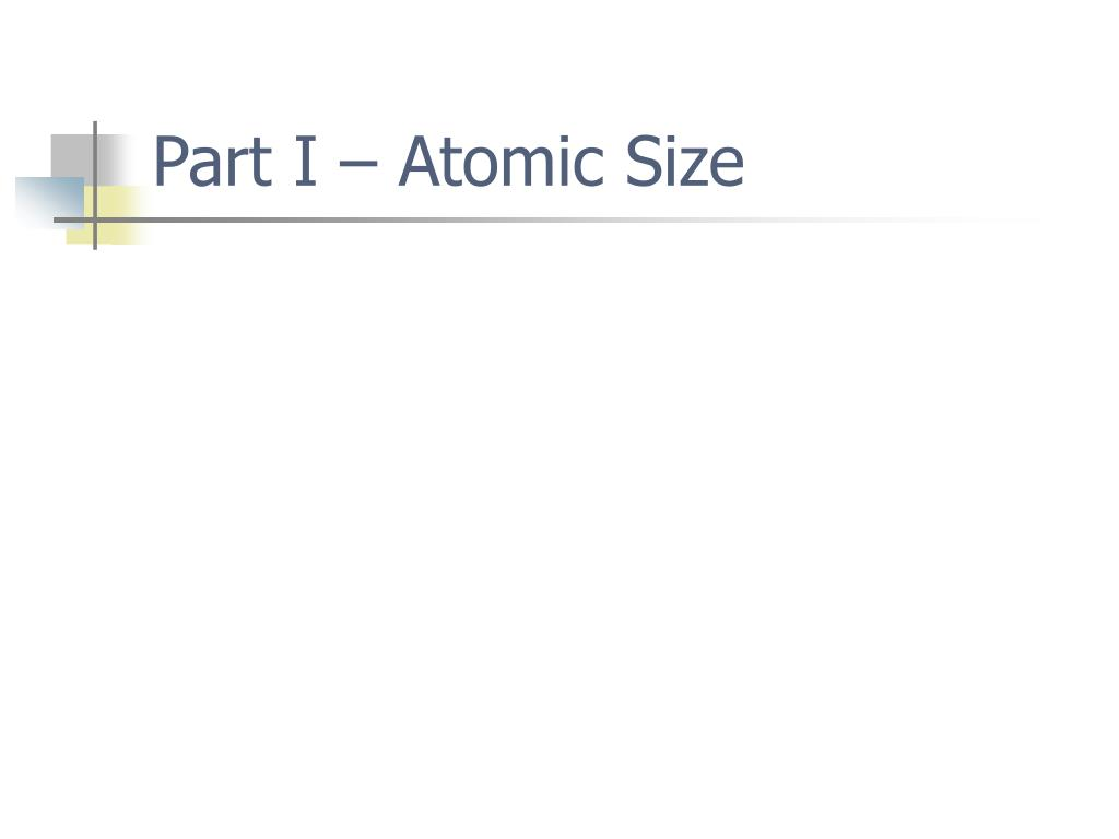 Part I – Atomic Size