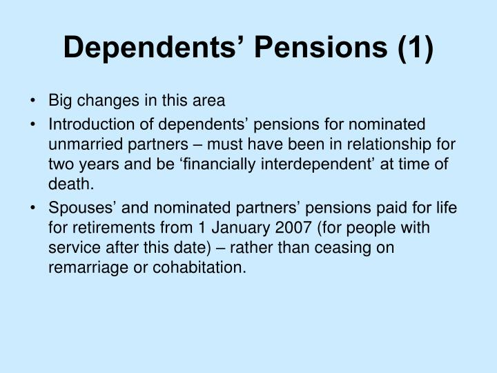 Dependents' Pensions (1)