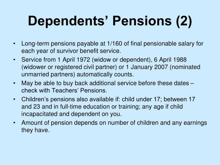 Dependents' Pensions (2)