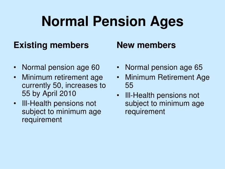 Normal pension ages