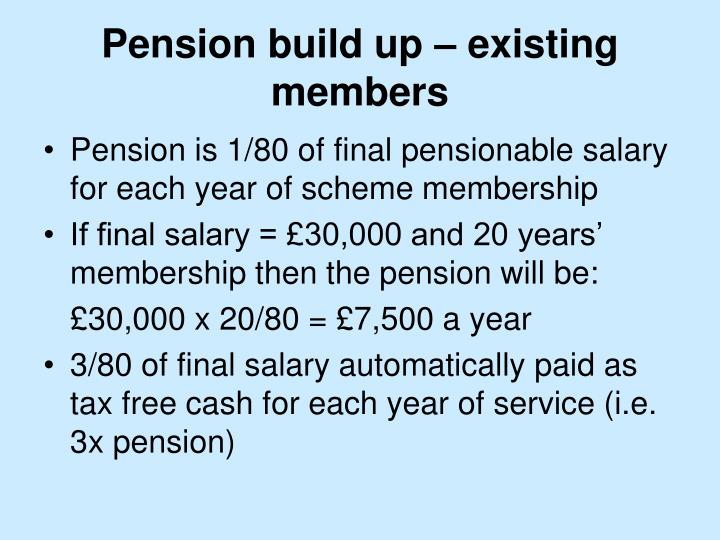 Pension build up – existing members