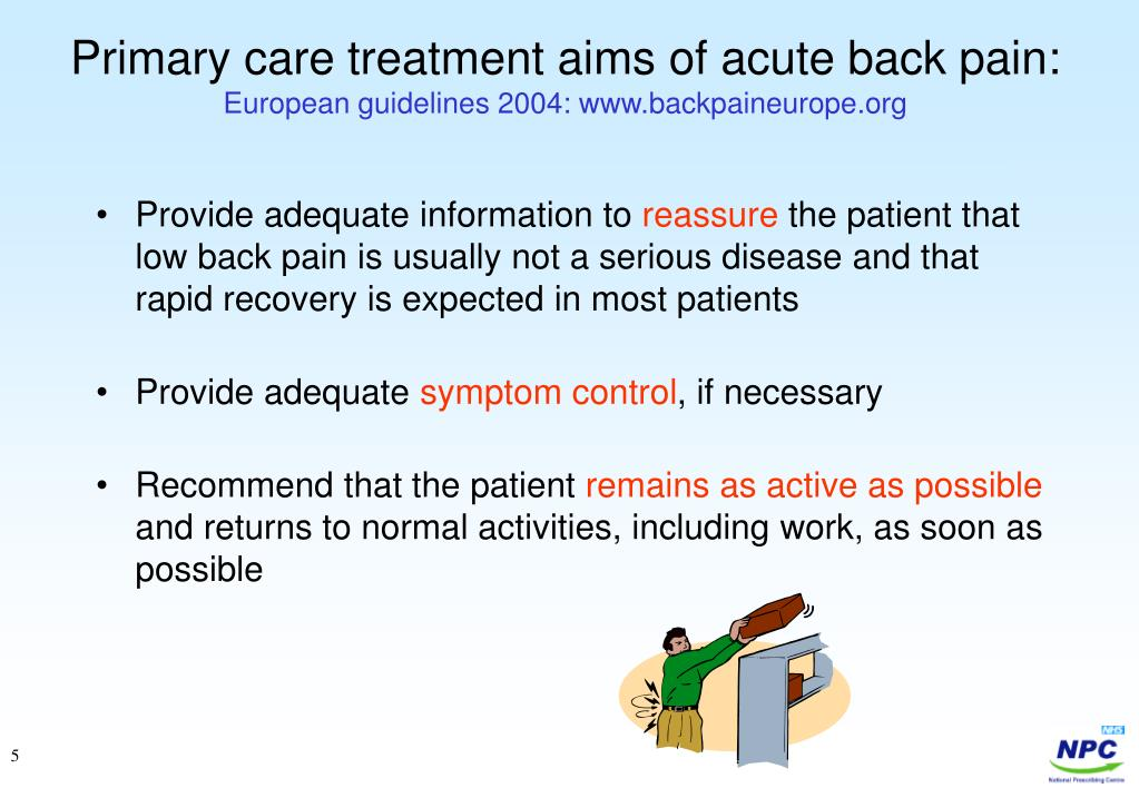 Primary care treatment aims of acute back pain: