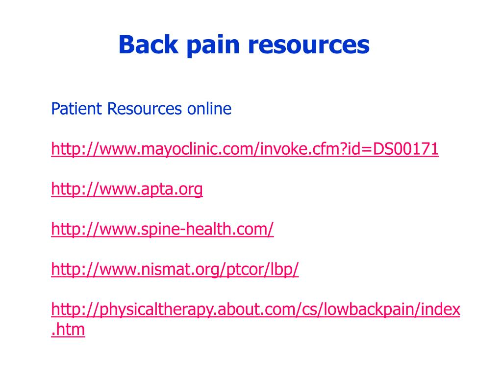 Back pain resources