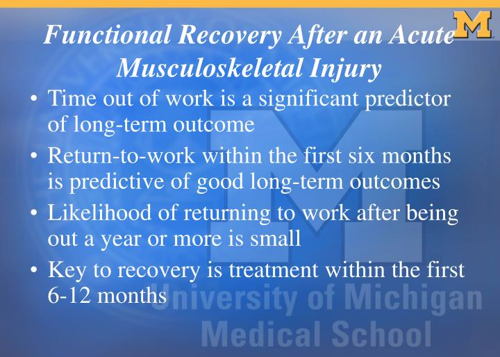 Functional recovery after an acute musculoskeletal injury