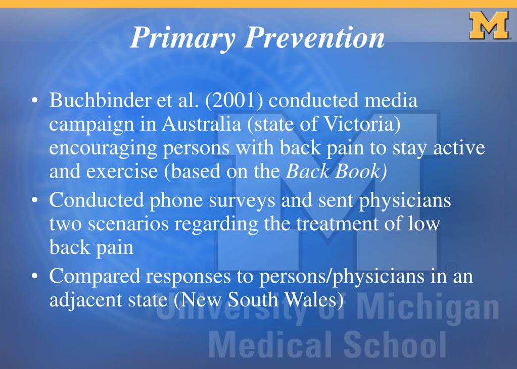 Buchbinder et al. (2001) conducted media campaign in Australia (state of Victoria) encouraging persons with back pain to stay active and exercise (based on the