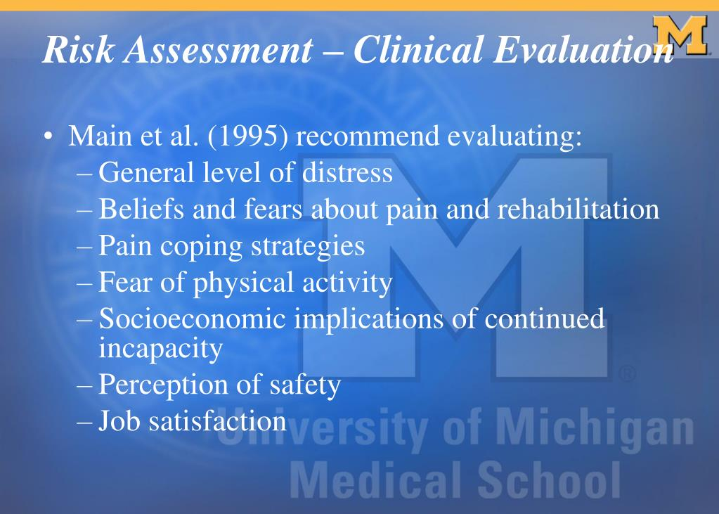 Main et al. (1995) recommend evaluating: